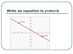 Write an equation in ymxb Linear Functions TLW