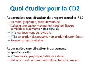 Quoi tudier pour la CD 2 Reconnaitre une