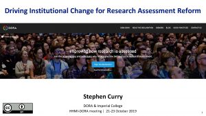 Driving Institutional Change for Research Assessment Reform Stephen
