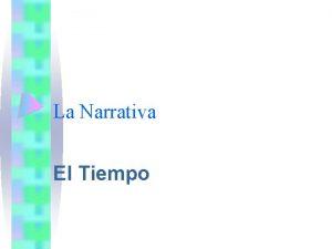 La Narrativa El Tiempo TIEMPOS INTERNOS TIEMPO DE