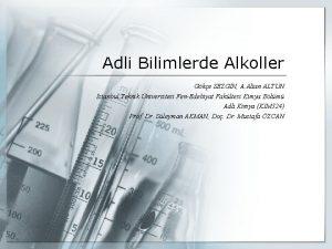 Adli Bilimlerde Alkoller Gke SEZGN A Altan ALTUN