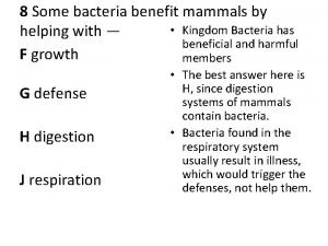 8 Some bacteria benefit mammals by Kingdom Bacteria