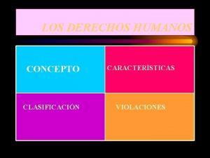 LOS DERECHOS HUMANOS CONCEPTO CARACTERSTICAS CLASIFICACIN VIOLACIONES CONCEPTO