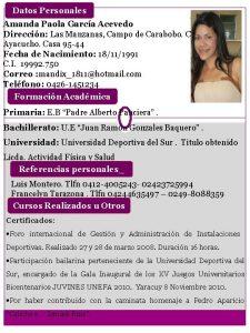 Datos Personales Amanda Paola Garca Acevedo Direccin Las