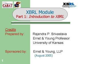 XBRL Module Part 1 Introduction to XBRL Credits