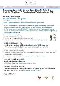 Diabeteszentrum fr Kinder und Jugendliche DDG der Charit