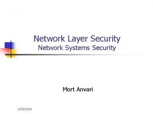 Network Layer Security Network Systems Security Mort Anvari
