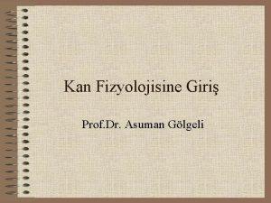 Kan Fizyolojisine Giri Prof Dr Asuman Glgeli dolam