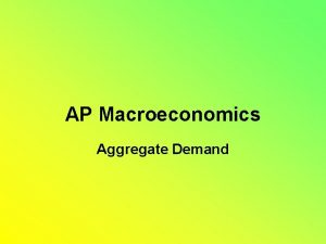 AP Macroeconomics Aggregate Demand Aggregate Demand Aggregate Demand