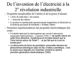 De linvention de llectricit la 2 rvolution industrielle