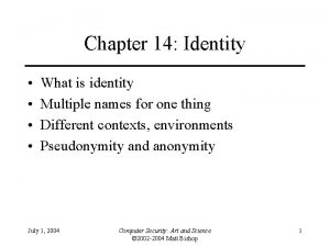 Chapter 14 Identity What is identity Multiple names