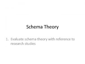 Schema Theory 1 Evaluate schema theory with reference