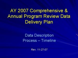 AY 2007 Comprehensive Annual Program Review Data Delivery