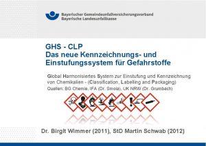 GHS CLP Das neue Kennzeichnungs und Einstufungssystem fr