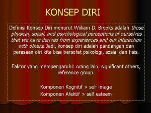KONSEP DIRI Definisi Konsep Diri menurut Wiiliam D