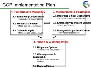 GCP Implementation Plan 1 Patterns and Variability 2
