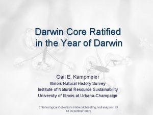 Darwin Core Ratified in the Year of Darwin
