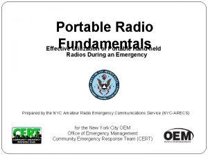 Portable Radio Fundamentals Effective Utilization of Portable Handheld