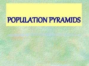 POPULATION PYRAMIDS What is a population pyramid It