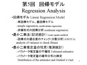 5 Regression Analysis Linear Regression Model simple regression