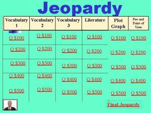 Jeopardy Vocabulary Literature Vocabulary Literature 11 22 33