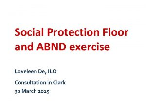 Social Protection Floor and ABND exercise Loveleen De