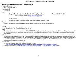 IEEE 802 16 m Synchronization Channel IEEE 802
