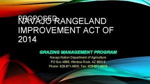 PROPOSED NAVAJO RANGELAND IMPROVEMENT ACT OF 2014 GRAZING