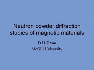 Neutron powder diffraction studies of magnetic materials D