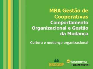 MBA Gesto de Cooperativas Comportamento Organizacional e Gesto
