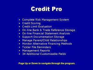Credit Pro Complete Risk Management System Credit Scoring
