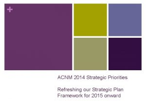 ACNM 2014 Strategic Priorities Refreshing our Strategic Plan