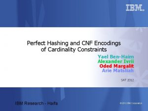 Perfect Hashing and CNF Encodings of Cardinality Constraints