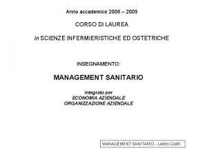 Anno accademico 2008 2009 CORSO DI LAUREA in