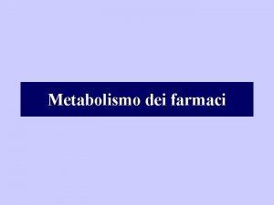 Metabolismo dei farmaci Composti liposolubili Composti idrosolubili polari