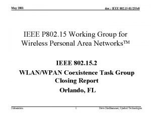 May 2001 doc IEEE 802 15 01255 r