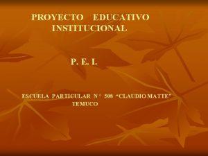 PROYECTO EDUCATIVO INSTITUCIONAL P E I ESCUELA PARTICULAR