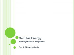 Cellular Energy Photosynthesis Respiration Part 1 Photosynthesis Photosynthesis