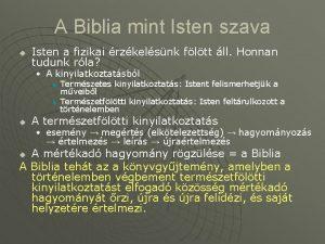 A Biblia mint Isten szava u Isten a
