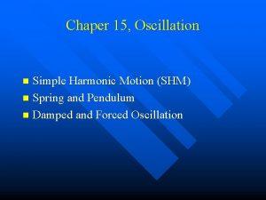 Chaper 15 Oscillation Simple Harmonic Motion SHM n