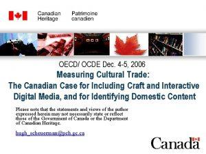 OECD OCDE Dec 4 5 2006 Measuring Cultural