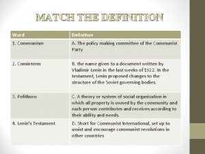 MATCH THE DEFINITION Word Definition 1 Communism A