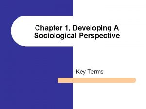 Chapter 1 Developing A Sociological Perspective Key Terms