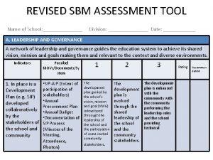REVISED SBM ASSESSMENT TOOL Name of School Division