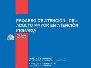 PROCESO DE ATENCIN DEL ADULTO MAYOR EN ATENCIN