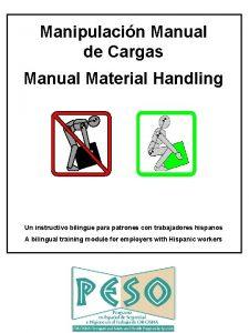 Manipulacin Manual de Cargas Manual Material Handling Un