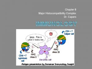 Chapter 8 Major Histocompatibility Complex Dr Capers IMMUNOLOGY