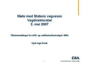 Mte med Statens vegvesen Vegdirektoratet 2 mai 2007