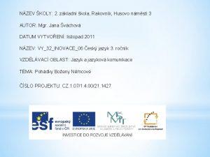 NZEV KOLY 2 zkladn kola Rakovnk Husovo nmst