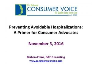 Preventing Avoidable Hospitalizations A Primer for Consumer Advocates